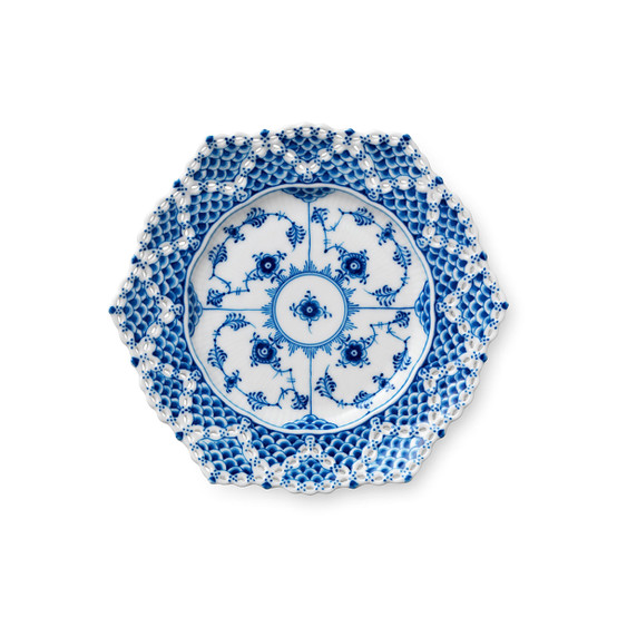 Blue Fluted Full Lace Cake Plate 8.25 inches