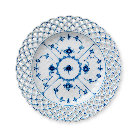 Blue Fluted Full Lace Cake Plate 9.75 Inches