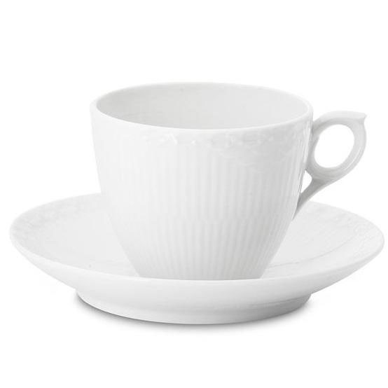 White Fluted Half Lace Cup & Saucer 5.5 Oz