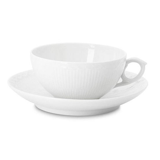 White Fluted Half Lace Cup & Saucer 6.75 Oz