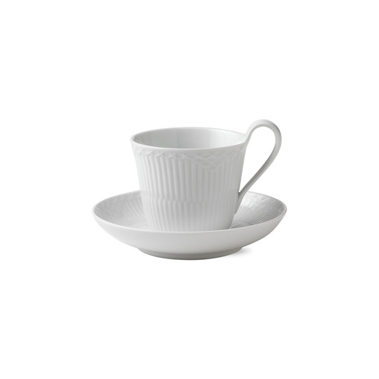 White Fluted Half Lace Cup & Saucer 9 Oz
