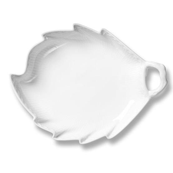 White Fluted Half Lace Leaf Shaped Dish
