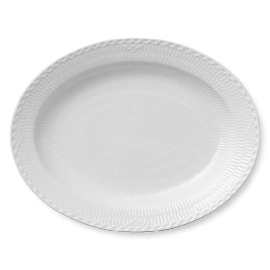 White Fluted Half Lace Oval Platter