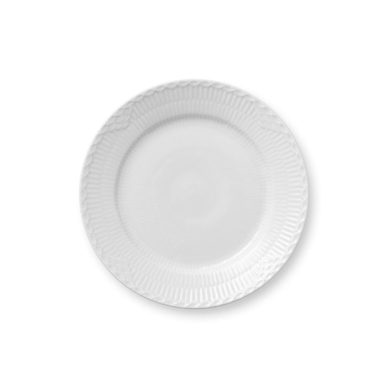 White Fluted Half Lace Salad/Dessert Plate 7.5 Inches