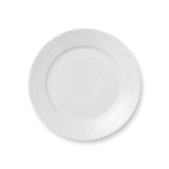 White Fluted Half Lace Salad/Dessert Plate 8.75 Inches