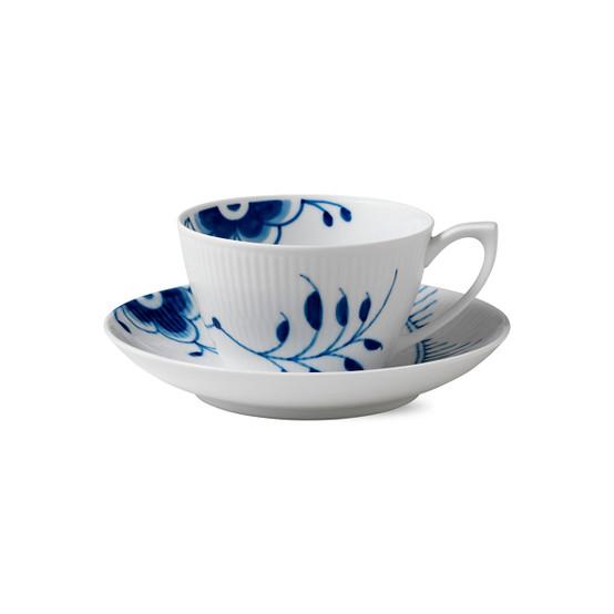 Blue Fluted Mega Cup & Saucer