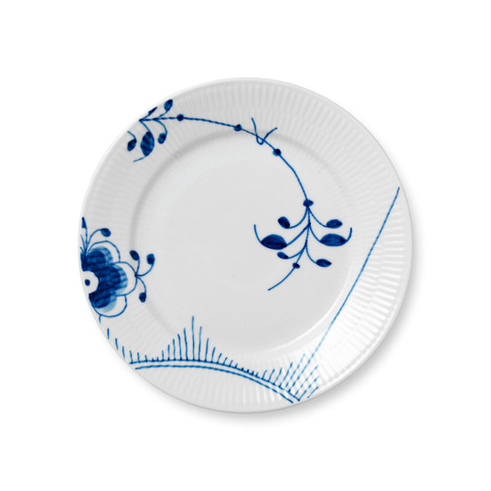 Blue Fluted Mega Salad/Dessert Plate 8.75 inches