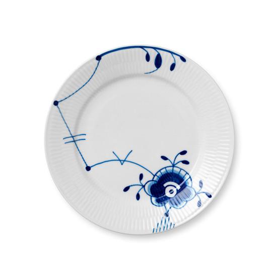 Blue Fluted Mega Salad/Dessert Plate 8.75 inches