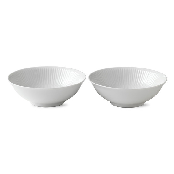 White Fluted Plain Bowls 2-Pack