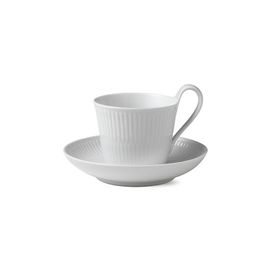 White Fluted Plain Cup & Saucer, High Handle