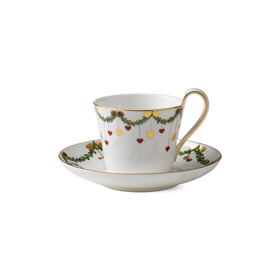 Star Fluted Christmas Cup & Saucer