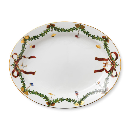 Star Fluted Christmas Oval Platter 14.5 Inches