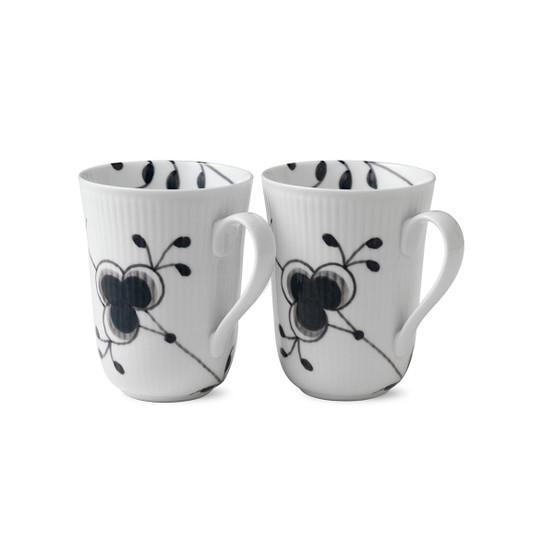 Black Fluted Mega Mug, Set of 2