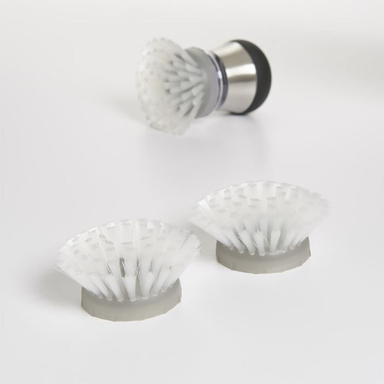 Steel Soap Squirting Palm Brush in Stainless Steel