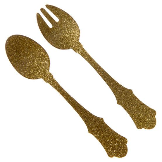 Gold Glitter Salad Serving Set