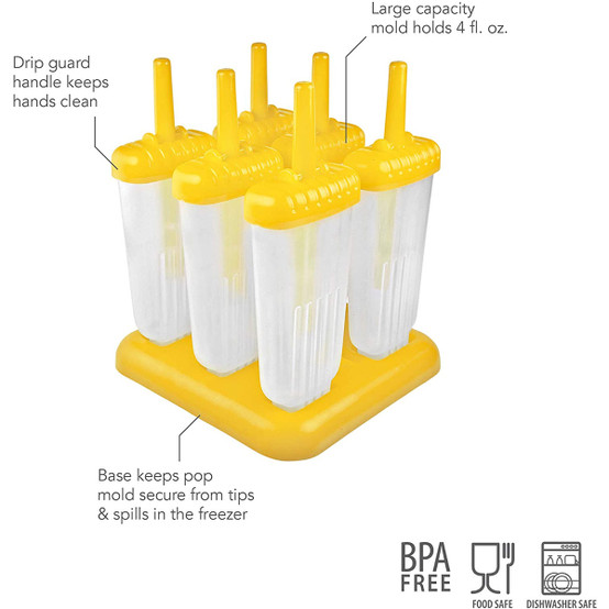 Groovy Pop Molds in Yellow, Set of 6