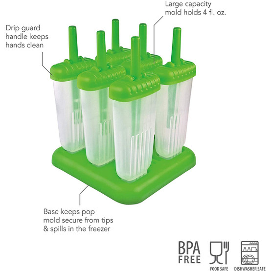Groovy Pop Molds in Green (Set of 6)