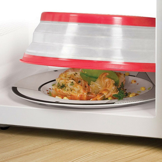 Collapsible Microwave Food Cover - Red