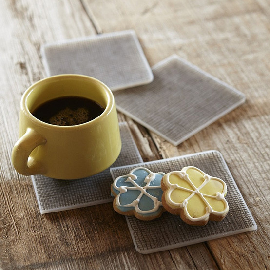 Linen Coasters Set of 4 in Chocolate