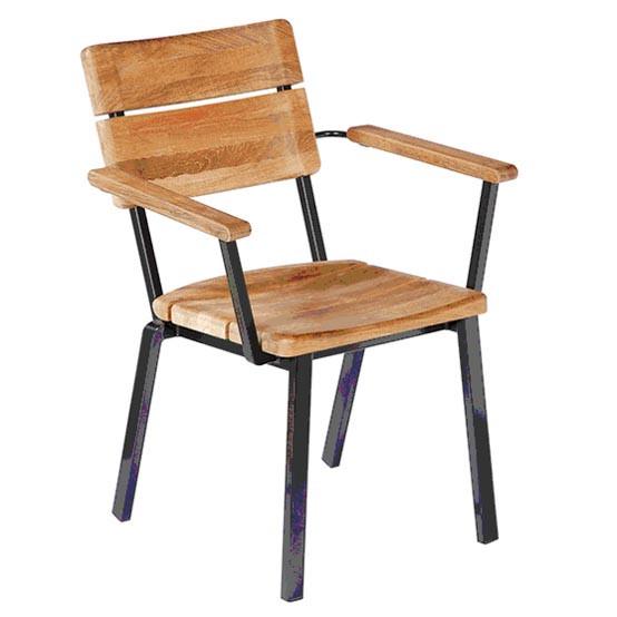 Titan Rustic Teak Stacking Arm Chair- Black frame