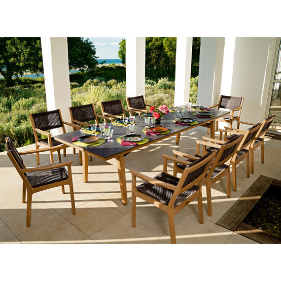 Monterey 118 Inch Rectangular Teak Table with Ceramic Top in Oxide