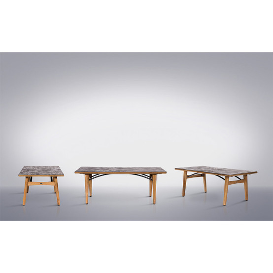 Monterey 79 Inch Rectangular Teak Table with Ceramic Top in Oxide