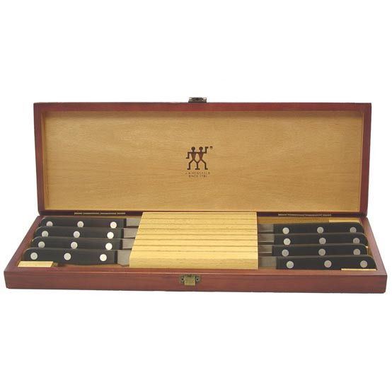 8pc Twin Gourmet Steak Knife Set with Wood Case