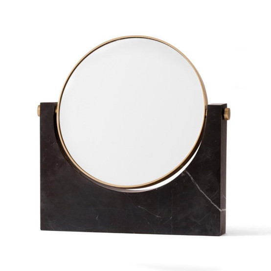 Pepe Marble Mirror in Brass/Black