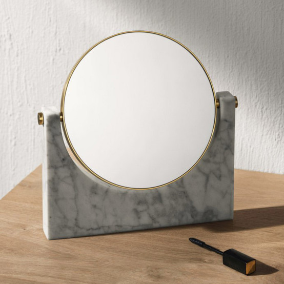 Pepe Marble Mirror, Brass, White