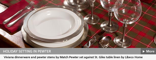 Match Pewter Viviana dinnerware in holiday setting