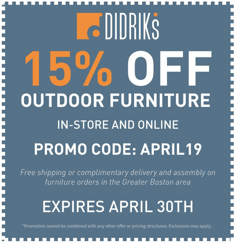 15% Off Outdoor Furniture Coupon - Promo Code: APRIL 19