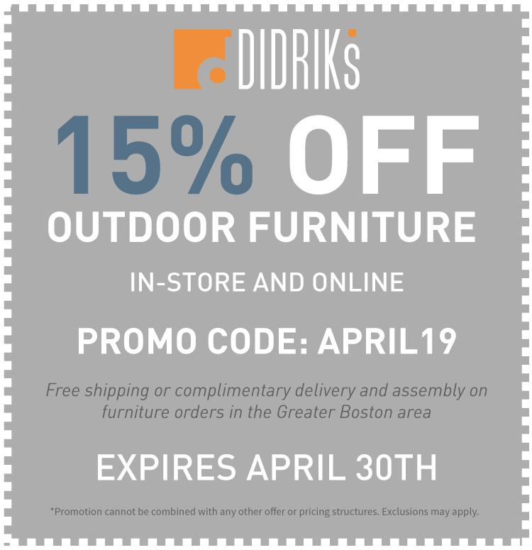 15% Off Outdoor Furniture Coupon Promo Code: APRIL 19